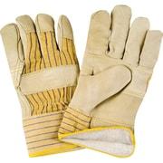 Grain Cowhide Fitters Cotton Fleece-Lined Patch Palm Gloves, SR521, Grain Cowhide Leather, 12/Pack