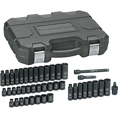 44-Pc. Impact SAE/METRIC Standard & Deep Socket Sets, 3/8