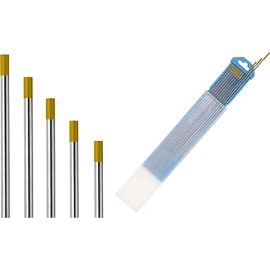 Tungsten Electrodes, 714-1205, ISO Colour Chart, Gold AWS A5.12 EWLa-1.5 ISO6848 WL15, 20/Pack