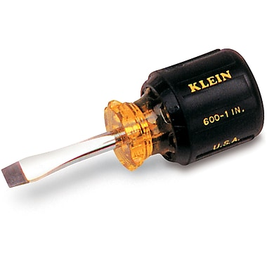 Klein Cushion-Grip Screwdrivers, Heavy-Duty, Square Shank, Slot Keystone Tip, Shank Length 6