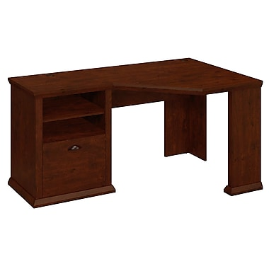 Bush Yorktown 60W Corner Desk, Antique Cherry