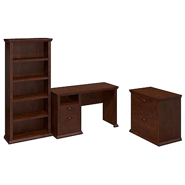 Bush Yorktown Single Pedestal Desk with Bookcase and Lateral File, Antique Cherry