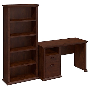 Bush Yorktown Single Pedestal Desk and Bookcase, Antique Cherry