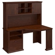 Bush Yorktown 60W Corner Desk and Hutch, Antique Cherry