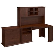 Bush Yorktown 60W Corner Desk with Hutch and Lateral File, Antique Cherry