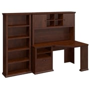 Bush Yorktown 60W Corner Desk with Hutch and Bookcase, Antique Cherry