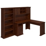 Bush Yorktown 60W L-Desk with Hutch and Bookcase, Antique Cherry