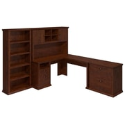 Bush Yorktown 60W L-Desk with Hutch, Lateral File and Bookcase, Antique Cherry