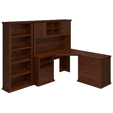 Bush Yorktown 60W Corner Desk with Hutch, Lateral File and Bookcase, Antique Cherry