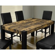 "Monarch Specialties Distressed-Look Top 38"" x 64"" Dining Table, Black (I 1620)"