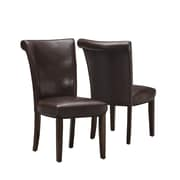Monarch Specialties 2-Piece Leather-Look Dining Chair, Dark Brown (I 1665BR)