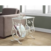 Monarch Specialties Metal Accent Table with Tempered Glass, Antique White (I 3312)