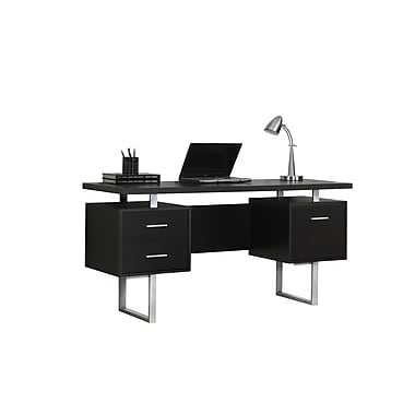 Monarch Hollow Core Metal Office Desk Cappuccino Silver