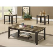 Monarch Specialties Marble-Look Top Medium Density Fiberboard Sets Table, Cappuccino, Each (I 7984P)