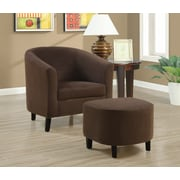 Monarch Specialties 2-Piece Micro-Fibre Fabric Accent Chair Set, Chocolate (I 8056)