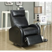 Monarch Specialties Bonded Leather Fabric Swivel Recliner/Rocker, Black (I 8080BK)