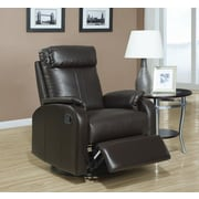 Monarch Specialties Bonded Leather Swivel Rocker Recliner, Dark Brown (I 8081BR)