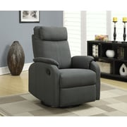 Monarch Specialties Linen Fabric Swivel Rocker/Recliner, Charcoal Grey (I 8081CG)
