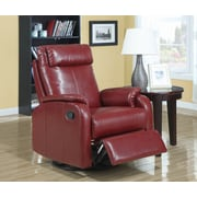 Monarch Specialties Bonded Leather Swivel Rocker Recliner, Red (I 8081RD)