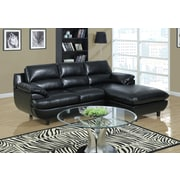Monarch Specialties Bonded Leather Sectional Sofa, Black (I 8435BK)