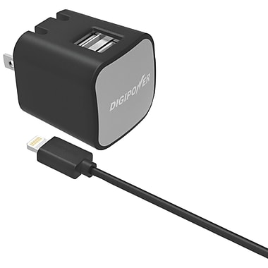 DIGIPOWER Instasense 2.4amp Dual-USB Wall Charger with 5ft Lightning Cable (DGPISAC2DL)