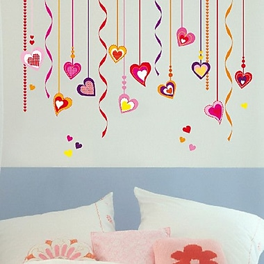 Brewster Home Fashions Euro Hearts On Strings Wall Decal