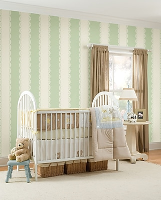 Brewster Home Fashions WallPops for Baby Stripes Wall Mural; Ivory