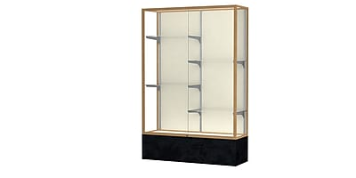 """Waddell Monarch 48""""W x 72""""H x 16""""D Lighted Floor Case, Plaque Back, Champagne Fin, Black Marble Base"""