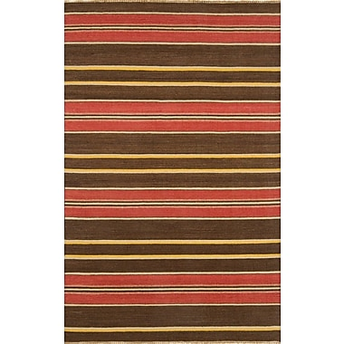 Continental Rug Company City Stripes Red / Brown Area Rug; Rectangle 5' x 8'