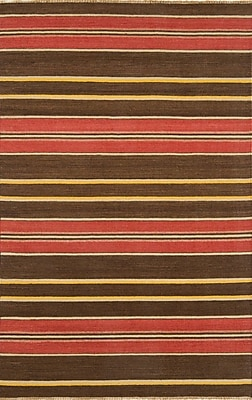 Continental Rug Company City Stripes Red / Brown Area Rug; Rectangle 8' x 11'