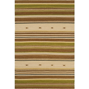 Continental Rug Company City Stripes Beige / Green Area Rug; Rectangle 5' x 8'