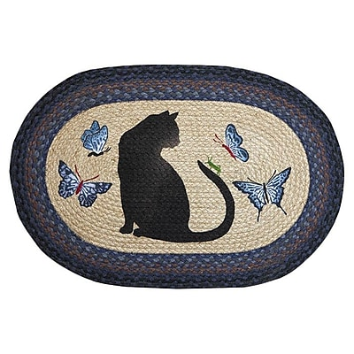 EarthRugs Cat/Grasshopper Printed Area Rug; Oval 1'8'' x 2'6''