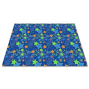 Kid Carpet Blue Seating Stars Area Rug; Rectangle 12' x 18'