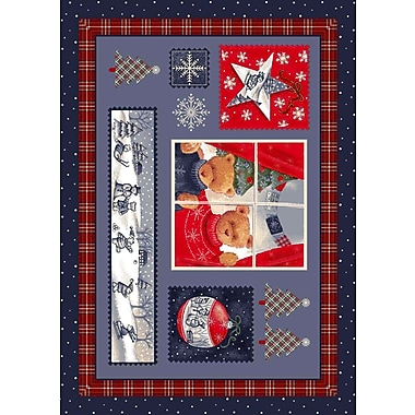 Milliken Winter Seasonal Holiday Christmas Cuddles Blue Area Rug; 5'4'' x 7'8''