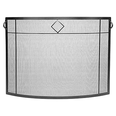 Minuteman Diamond Curved Wrought Iron Fireplace Screen; Graphite