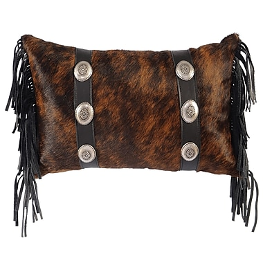 Wooded River Conchos Leather Lumbar Pillow