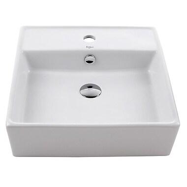 Kraus Ceramic Ceramic Square Vessel Bathroom Sink w/ Overflow; Chrome