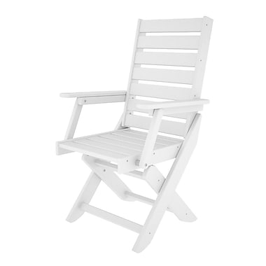 POLYWOOD Captain Folding Patio Dining Chair; White