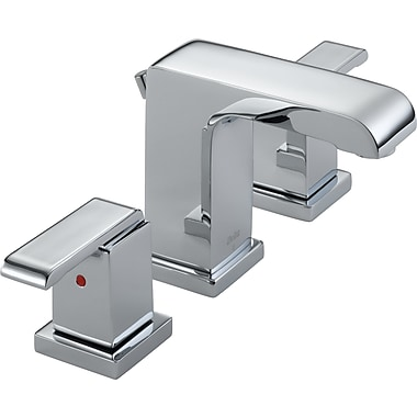 Delta Arzo Widespread Double Handle Bathroom Faucet w/ Drain Assembly; Chrome