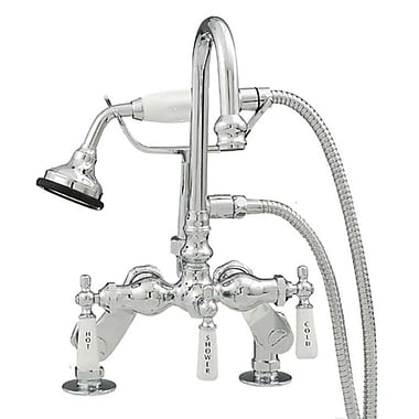 Strom Plumbing by Sign of the Crab Three Handle Deck Mounted Tub Faucet w/ Handshower; Chrome