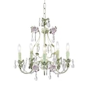 Jubilee Collection Flower Garden 5-Light Crystal Chandelier; Pink/Green