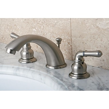 Kingston Brass Magellan Double Handle Widespread Bathroom Faucet w/ ABS Pop-Up Drain; Satin Nickel