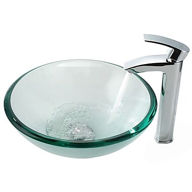 Kraus Clear Glass Circular Vessel Bathroom Sink