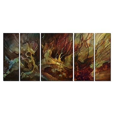 All My Walls 'Flames Approach' by Michael Lang 5 Piece Graphic Art Plaque Set