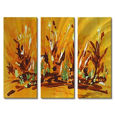 All My Walls 'Autumn Garden' by Holly Carmichael 3 Piece Painting Print Plaque Set