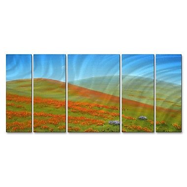 All My Walls 'Poppy Fields' by Jerome Stumphauzer 5 Piece Painting Print Plaque Set