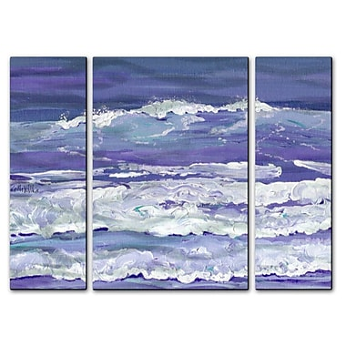 All My Walls 'Blue Surf' by Keith Wilke 3 Piece Painting Print Plaque Set