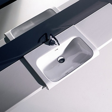 WS Bath Collections Quattro Ceramic Rectangular Wall mounted Bathroom Sink w/ Overflow