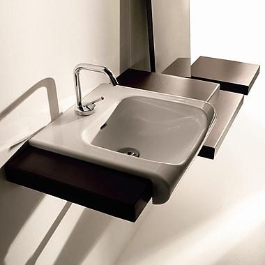 WS Bath Collections Quattro Ceramic Rectangular Wall mounted Bathroom Sink w/ Overflow