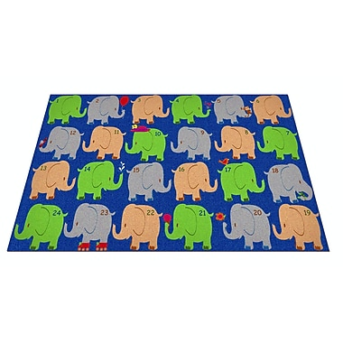 Kid Carpet Elephant Seating Classroom Area Rug; 6' x 8'6''